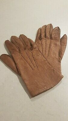 Vintage Women's Gloves Soft light brown Leather