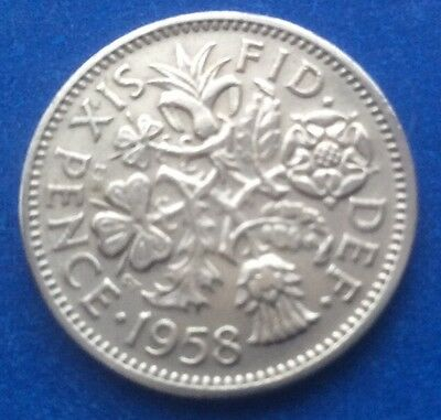 """1958 Queen Elizabeth Ii """"Lucky Tanner"""" Sixpence Coin 62Nd Birthday / Anniversary"""