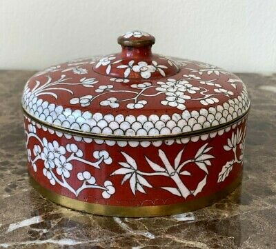 Old Chinese Red Brick Cloisonne Round Box