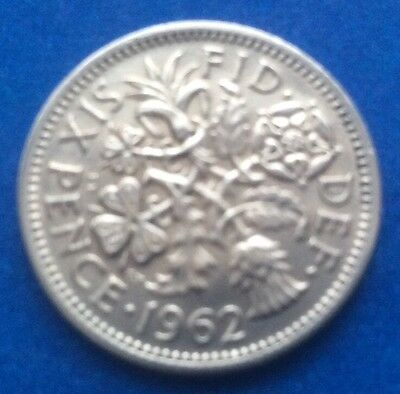 """1962 Queen Elizabeth Ii """"Lucky Tanner"""" Sixpence 57Th Birthday"""