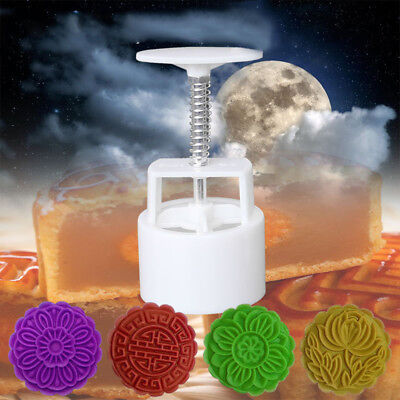 100g Mooncake Mold w/4 Flower Stamp DIY Baking Pastry Round Moon Cake Mould Tool