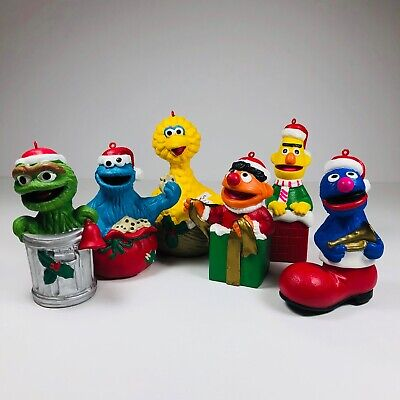 Sesame Street Christmas Ornament Vtg 1980s Jim Henson Bert Earnie Oscar Lot of 6