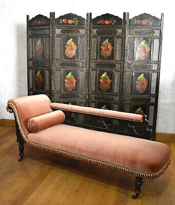 Antique Victorian carved chaise longue - day bed sofa settee
