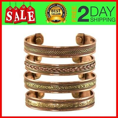 Set of 4 Tibetan Copper Bracelets Magnetic India Pattern Women's Men's Jewelry