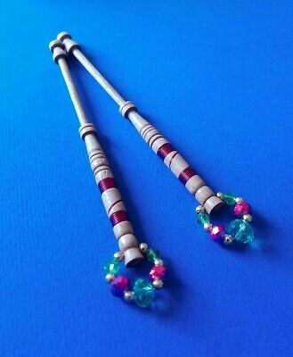 Pair of Wood Lace Bobbins.Turned & Wired in pink. Spangles.