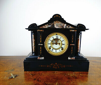 Antique Victorian Mantel Clock by Ansonia in Black Slate & Marble Striking 8 Day
