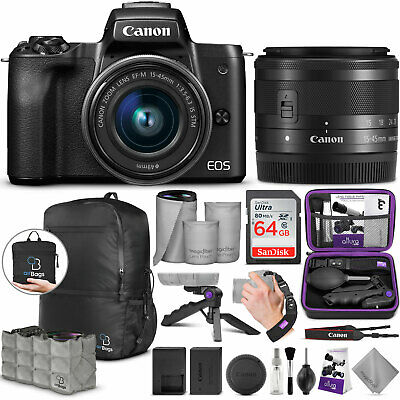 Canon EOS M50 Mirrorless Digital Camera with EF-M 15-45mm Lens and Bundle