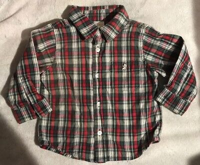 Baby Boys Old Navy Plaid Button Down Shirt Size 6-12 months GUC