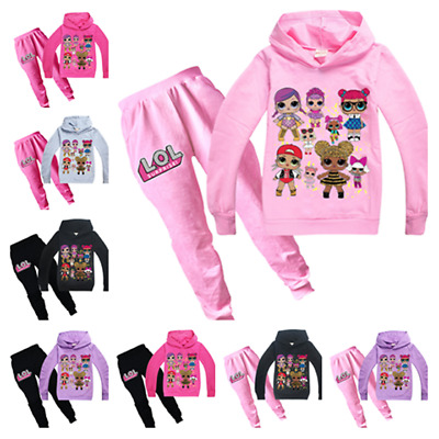 Hot Lol Surprise Dolls Kids Girls Cosplay Casual Hoodie Sweatshirt+Trousers Sets
