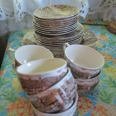 Johnson Bro Olde English Countryside vintage service for 5 plus more set lot