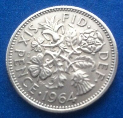 """1964 Queen Elizabeth Ii """"Lucky Tanner"""" Sixpence Coin 56Th Birthday / Anniversary"""