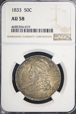 1833 CAPPED BUST 50c SILVER HALF DOLLAR ** NGC AU 58 ** BEAUTIFUL COIN Lot #941