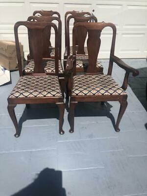 Antique Style Mahogany Queen Anne Style Dining Table One leaf & 6 Dining Chairs