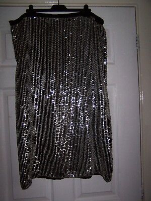 Vintage Lined Sequinned Skirt Long Size 20/22 Sequins
