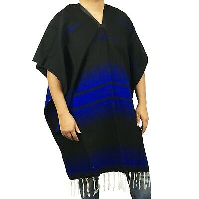 Warm Blue Mexican Poncho Gaban Heavy Blanket Cape Ruana One Size