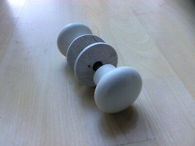 Pair of White Wooden Door Knobs with Backplate