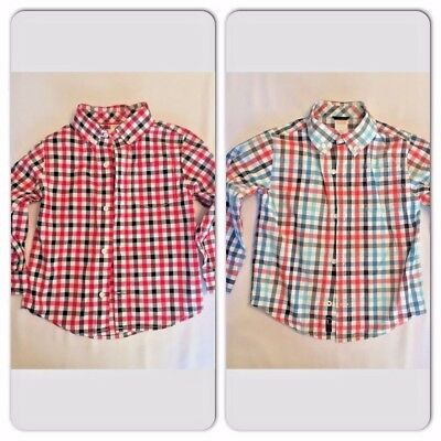 Gymboree 3T Cotton button down gingham check shirts Lot of 2