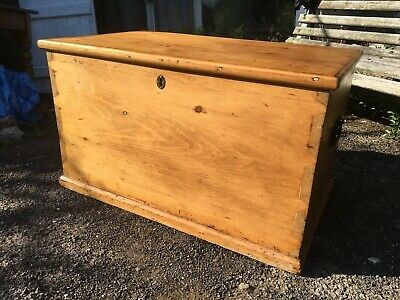 Old Antique Victorian Wooden Pine Blanket Chest Trunk Bedding Box Candle Tray