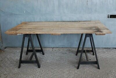 A Reclaimed Trestle Table With Rustic Old Oak Door Top On Wooden Base M1298