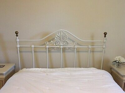 Queen bed wrought iron headboard with brass finials