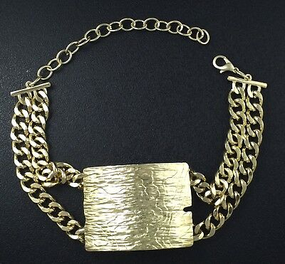 """Chunhy Double Chain ID Plate Pendant Necklace Gold Tone Choker Style 17"""" Long"""
