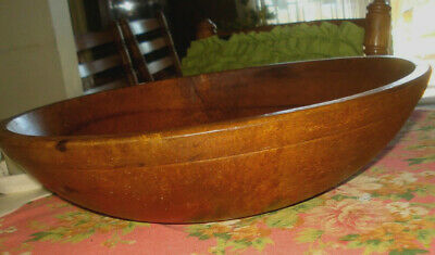 "Vintage Wooden Dough Bowl w/ Rim Dark Patina - Country Farmhouse Decor 14"" x 4"""