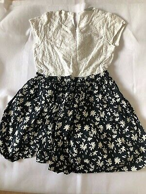 matalan, age 10 years, off white lace & navy blue floral  puff dress, pre-loved