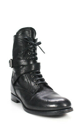 66fc0adbaea PRADA WOMENS LACE Up Buckle Strap Ankle Boots Black Leather Size 38 ...