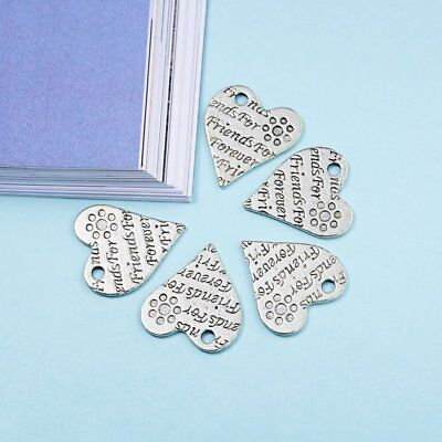5pcs/set Heart Engraved Jewelry Crafts Charms Pendant Bracelet Making DIY Gifts