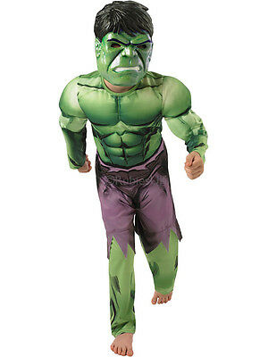 Deluxe Incredible Hulk Age 3-8 Boys Fancy Dress Kids Marvel Avengers Costume New