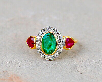 Handmade 18kt Top Grade Natural Zambian Emerald African Ruby Diamond Ring