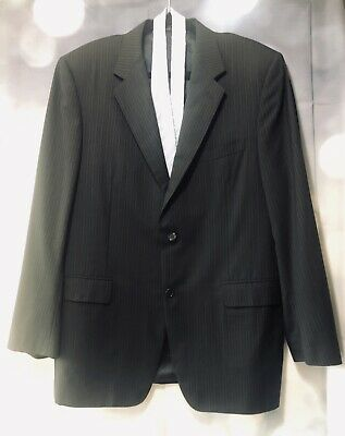 CANALI Black Pure Wool Pinstriped Two Button Suit Jacket Size IT 54L/US 44L J085