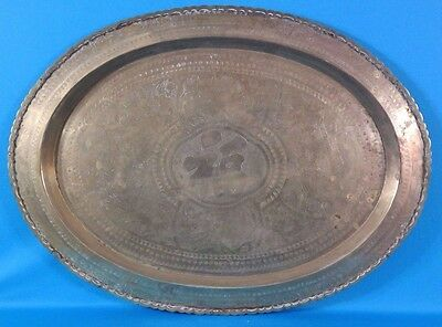 """Vintage Chinese Hand Carved Brass 29"""" Rimmed Oval Table Tray/Top"""
