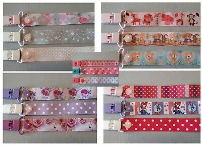 3 Pack /  Baby /  Girl /  Dummy Clips  / Dummy Clip / Pacifier Clip /  Chain