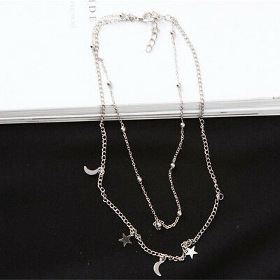 Women Star Moon Pendant Double Layer Clavicle Chain Necklace Choker Jewelry JA