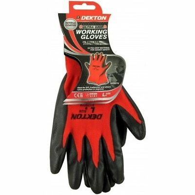 Ultra Grip Protection Safety Working Gloves Black Red Nitrile Coated 9/L UK