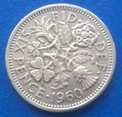 """1960 Queen Elizabeth Ii """"Lucky Tanner"""" Sixpence 60Th Birthday / Anniversary"""
