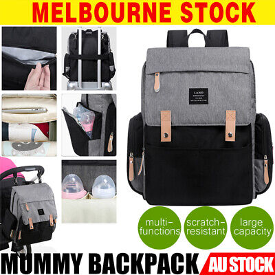 GENUINE LAND Multifunctional Baby Diaper Backpack Changing Bag Nappy Mummy GREY