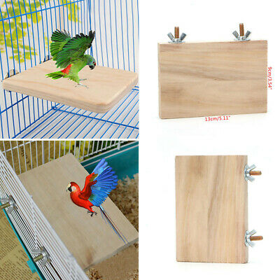 Wooden Cockatiel Parrot Bird Cage Perches Stand Platform Pet Budgie Hanging Toy