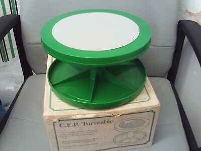 Turntable/Cake Stand/Display Vintage/Retro Green/Grey 1980s C.E.P. Boxed VGC