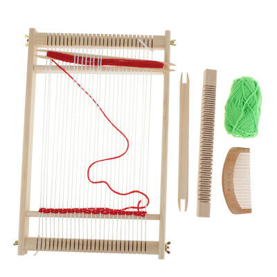 MagiDeal Loom Wooden Weaving Toy with Comb and Wool for Kids Birthday Gifts