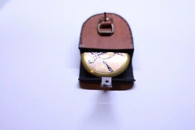 SOLID BRASS COLLECTABLE POCKET Kookaburra COMPASS  WITH LEATHER CASE