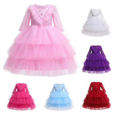 Toddler Kids Girls Party Dress Lace Princess Beaded Bridesmaid Layered Dresses