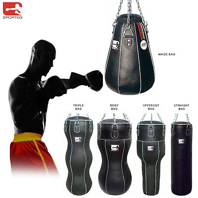 Sporteq® 4ft/5ft Leather Punch Bag Kickboxing Heavy Filled Chain Bracket Gloves