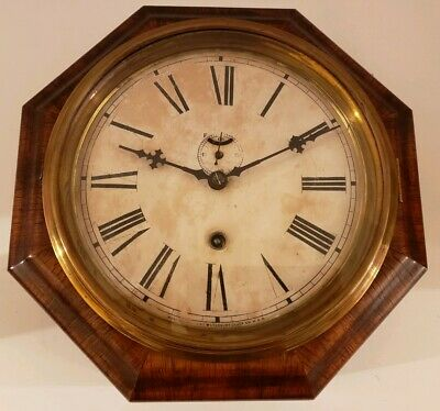 Antique Working WATERBURY Clock Co. 8 Day Marine Lever Gallery Ships Wall Clock