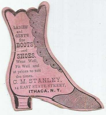 Antique 1880s C. M. Stanley Boots & Shoes Victorian Trade Card Ithaca, NY VTC