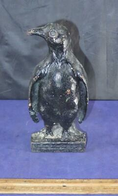 Rare & Unusual Penguin Antique Cast Iron Door Stop Doorstop !