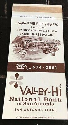 Matchbook Cover Valley Hi National Bank Of San Antonio