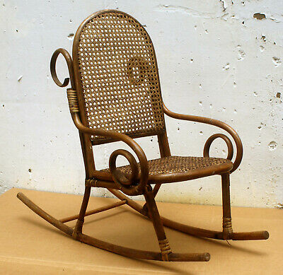 Antique Vintage Bent Wood Wooden Caned Wicker Child Childrens Kids Rocking Chair