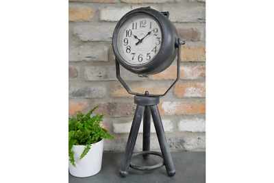 Tall Black Mantle Clock Industrial Vintage Retro Style